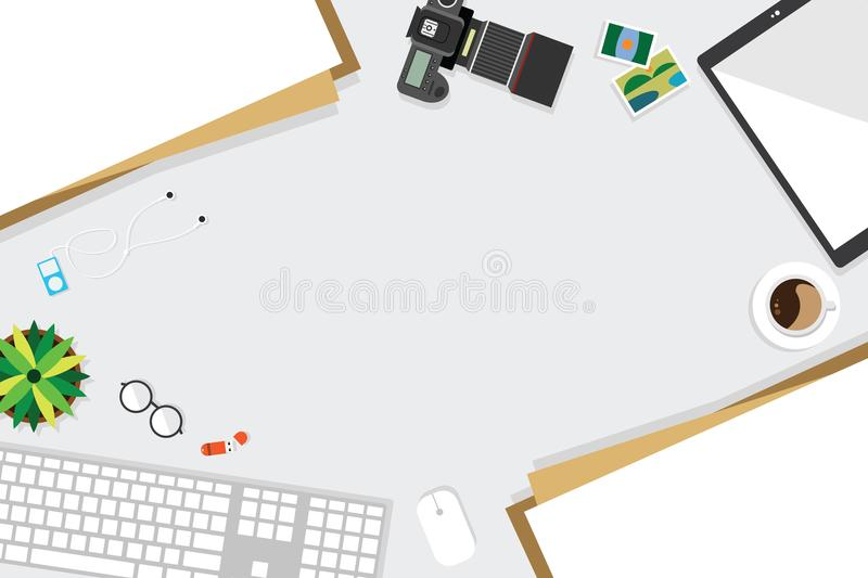Top view of table working and working desk with gadget and free space for tex. T with accessory on the table, note, keyboard, camera, pen, flowerpot, tablet vector illustration