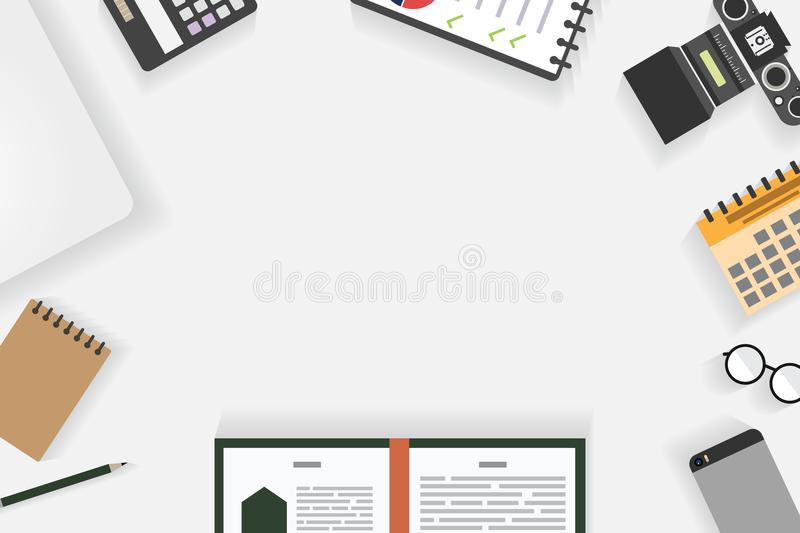 Top view of table working and working desk with gadget and free space for text with accessory on the table. Camera, book, phone, coffee cup, flowerpot, laptop royalty free illustration