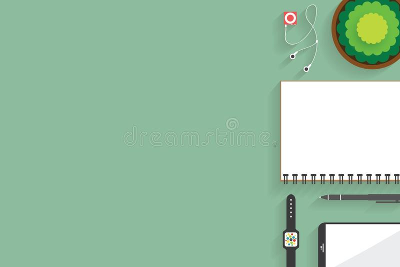 Top view of table working and working desk with gadget and free space for text with accessory on the table. Notebook, phone, pen, flowerpot, watch royalty free illustration
