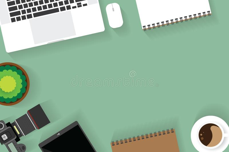 Top view of table working and working desk with gadget and free space for text with accessory on the table. Camera, note, phone, coffee cup, flowerpot, laptop royalty free illustration