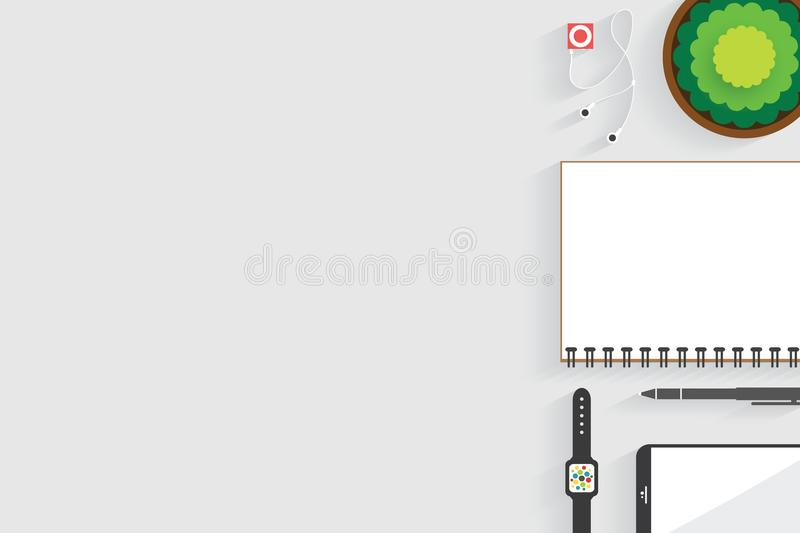 Top view of table working and working desk with gadget and free space for text with accessory on the table. Notebook, phone, pen, flowerpot, watch vector illustration