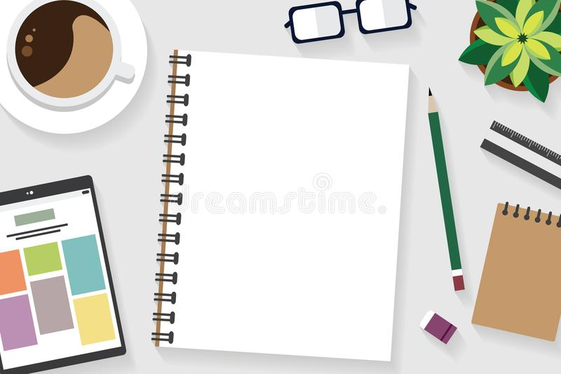 Top view of table working and working desk with gadget and free space for text with accessory. On the table, tablet, note, book, pen, flowerpot, glasses, coffee royalty free illustration