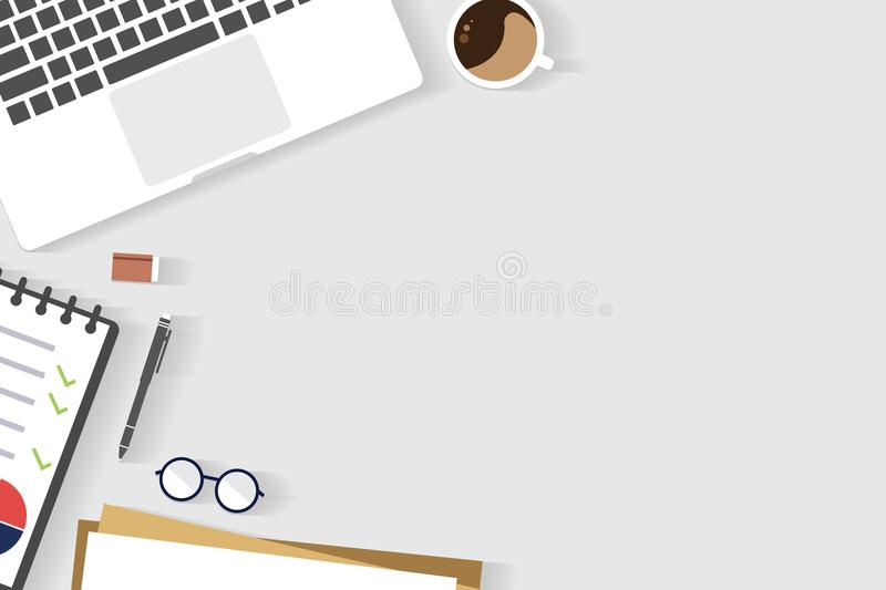 Top view of table working and working desk with gadget and free space for text with accessory. On the table, notebook, note, laptop, glasses, coffee cup royalty free illustration