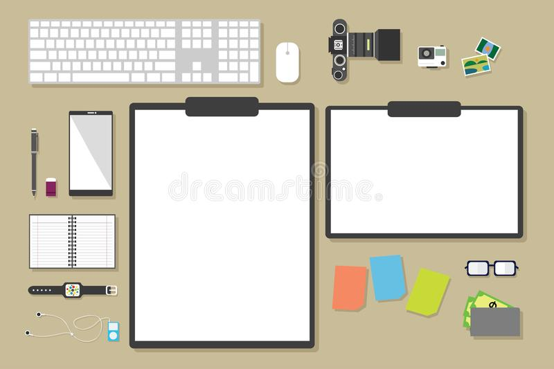Top view of table working and working desk with gadget and free space for text. With accessory on the table, note, phone, keyboard, camera, pen, flowerpot stock illustration