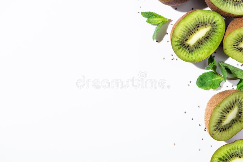 Top view of tasty kiwi fruit stock images