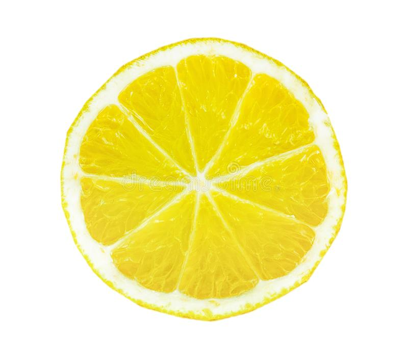 Top view of textured ripe slice of lemon citrus fruit isolated on white background stock photos