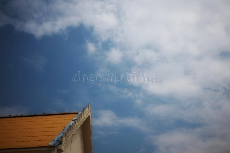 Top view of Thai temple roof, beautiful design, sky background royalty free stock photos
