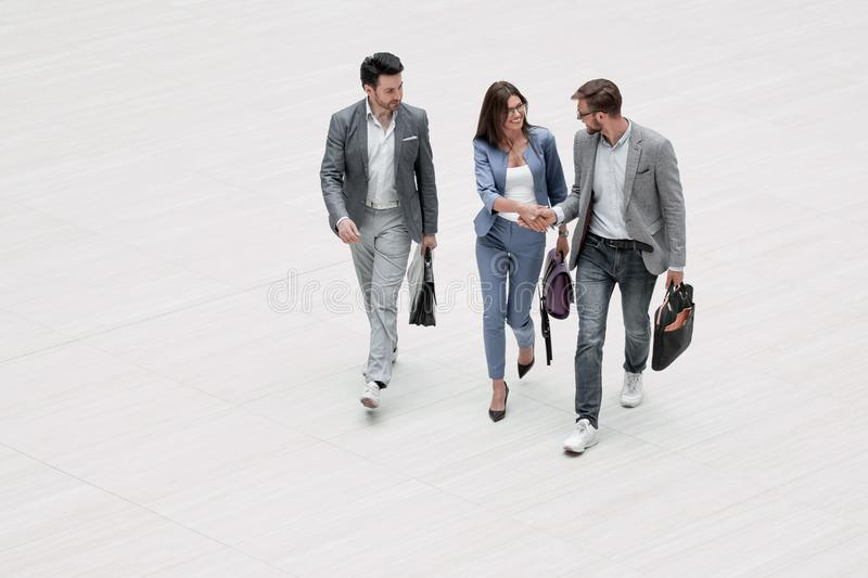 Top view.three modern business people royalty free stock image