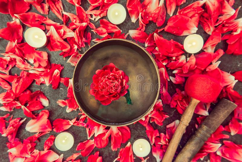 Top view tibetan singing bowl with floating inside in water red peony flower. Burning candles and petals on the black stone backgr royalty free stock photo