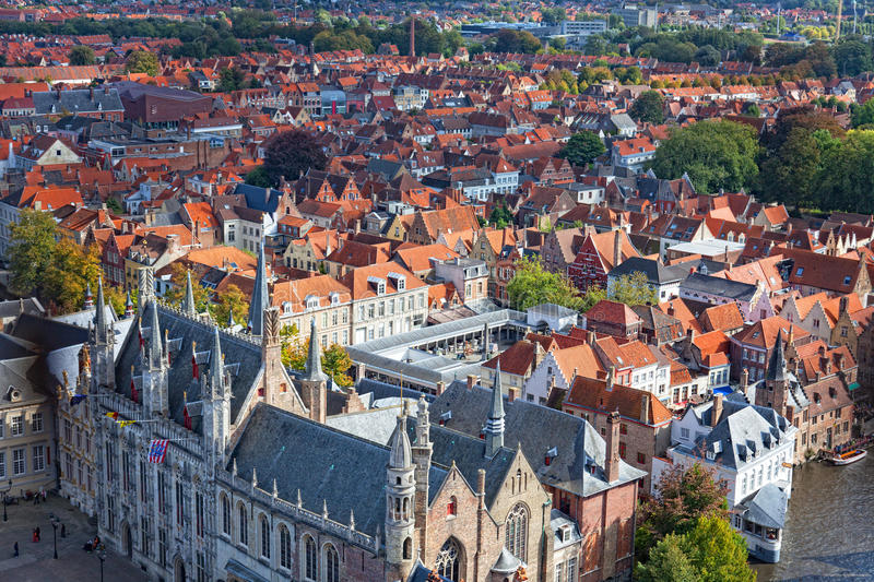 Download Top view to Bruges stock image. Image of medieval, brick - 28582271