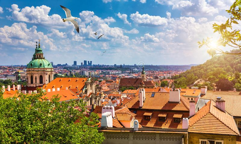 Top view to red roofs skyline of Prague city, Czech Republic. Aerial view of Prague city with terracotta roof tiles, Prague,. Czechia. Old Town architecture stock photo