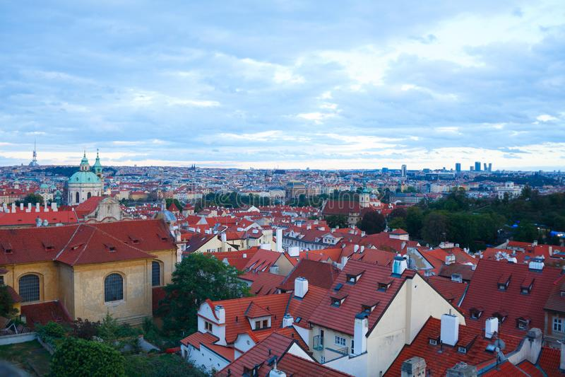 Top view to red tile roofs of Prague. City Czech republic. Typical Prague houses stock image