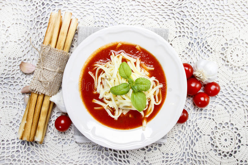 Top view of tomato soup stock photos