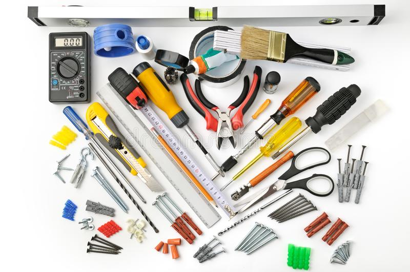 Top view tools for repair and construction on white royalty free stock photo