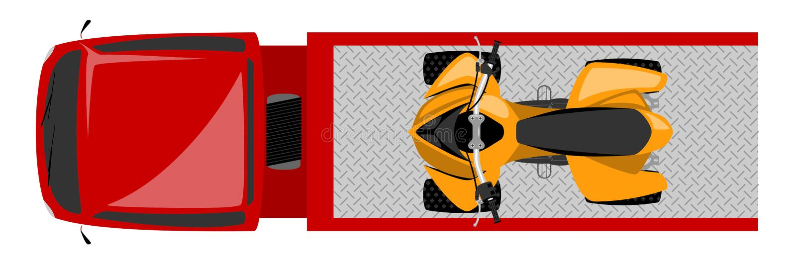 Top view of tow truck with quad bike color illustration royalty free illustration