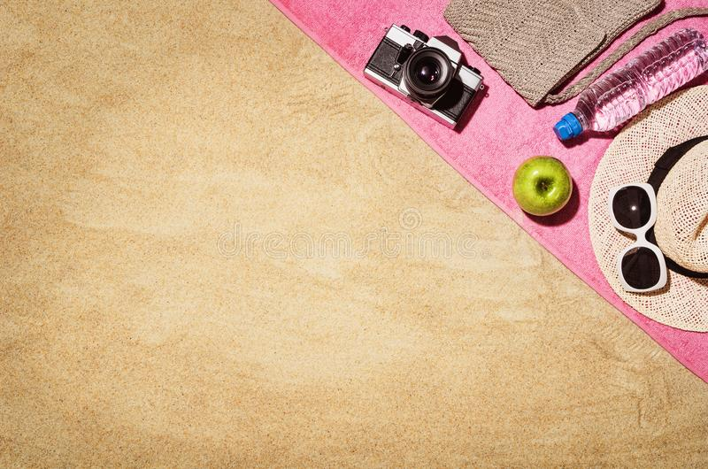Top view towel on sandy beach. Background with copy space stock image