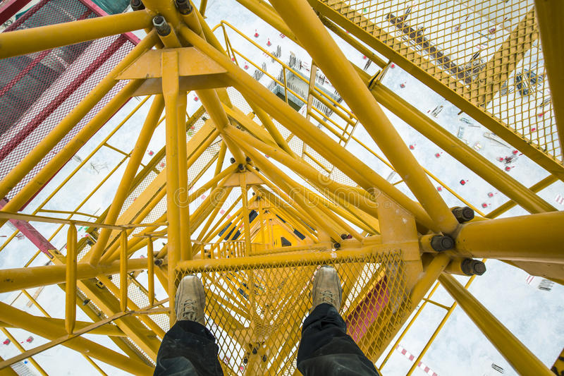 Top view of a tower crane royalty free stock photos