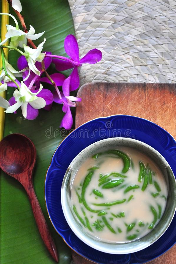 Top view of Traditional Dessert Cendol. Bowl on wooden board royalty free stock photos