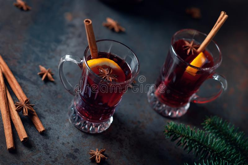 Top view of Traditional winter mulled wine in vintage glass on metallic background, selective focus and toned image. Sangria royalty free stock photography