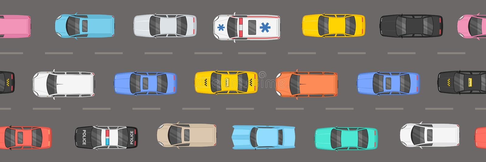 Top view of Traffic road jam. Top view of cars of different colours and shapes on grey background. Traffic Jam On Highway Top View royalty free illustration