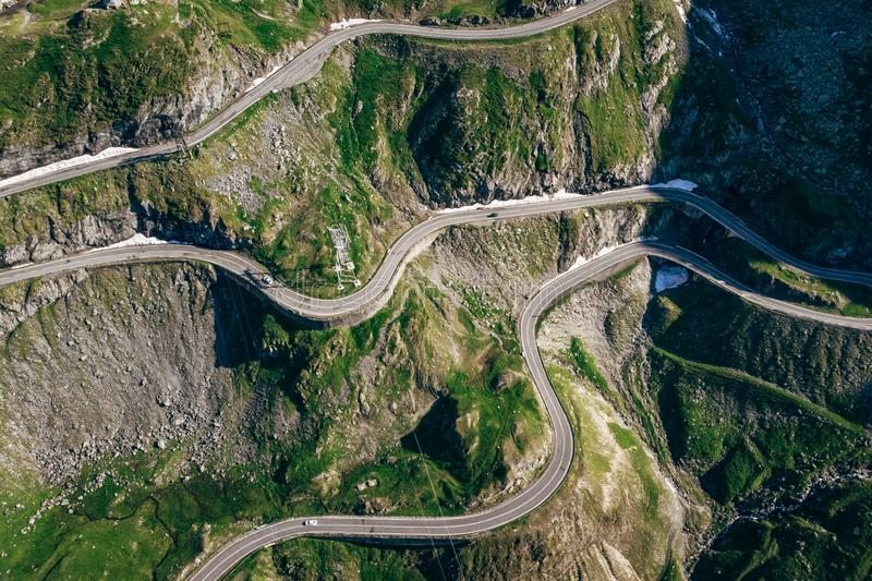 Aerial View of Transfagaras mountain road in Transylvanian Carpathian, Romania stock photography