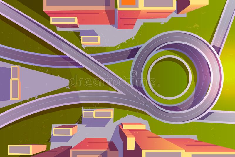 Top view transport interchange in city, empty road stock illustration