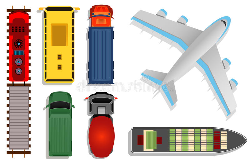 Top view transport vector illustration. Cargo moving by truck and plane, ship and train isolated on white background. Plane and boat with container stock illustration