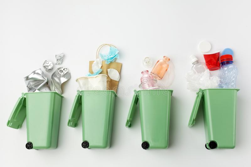 Top view of trash bins and assorted garbage. Recycle concept royalty free stock photos