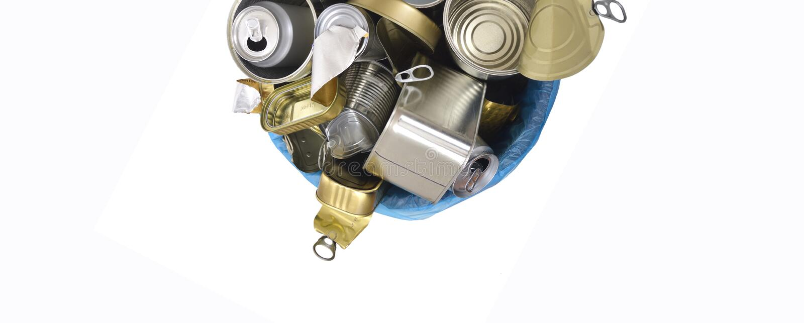 Top view of trash can tin can food and drink full of cans on white stock photography