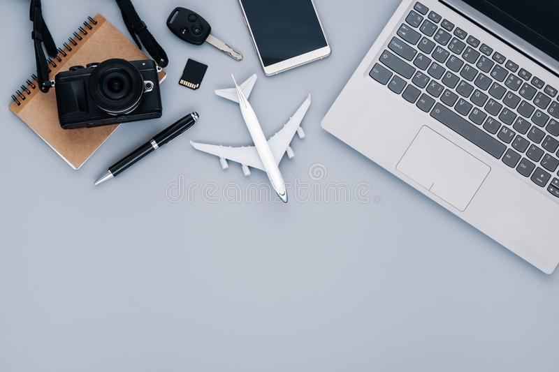 Top view travel concept with camera, notebook, smartphone, car k royalty free stock photography