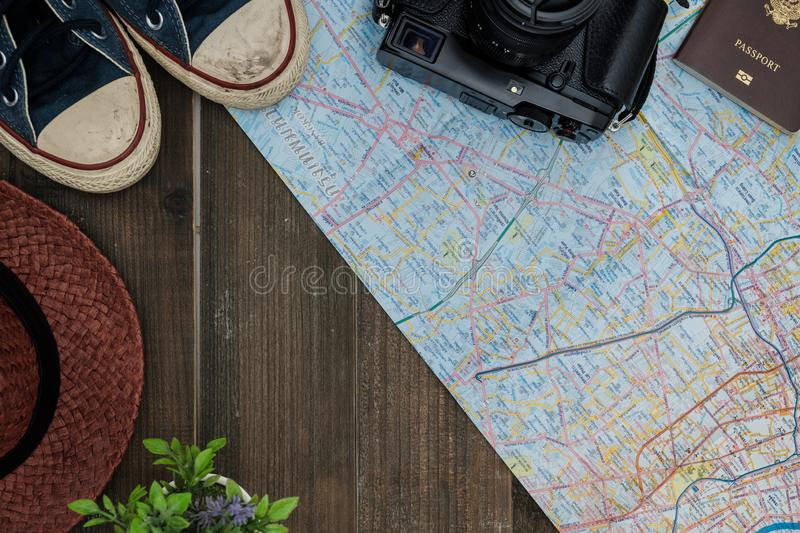 Top view travel concept with other items on wooden background.  royalty free stock photography