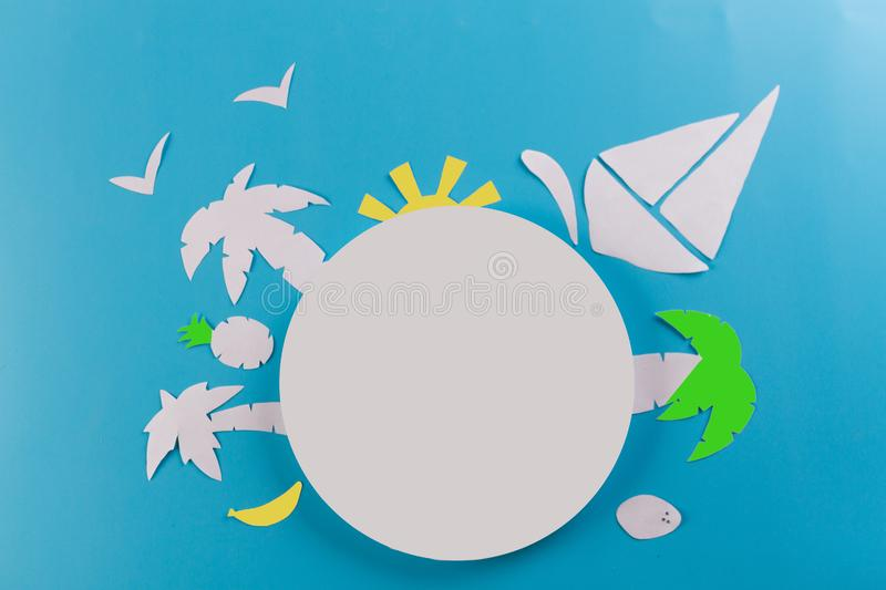 Top view travel concept. Round copy space. paper cut stock photography