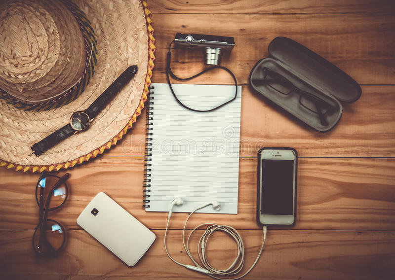 Top view of Traveler& x27;s accessories, Essential vacation items, Tr stock photography