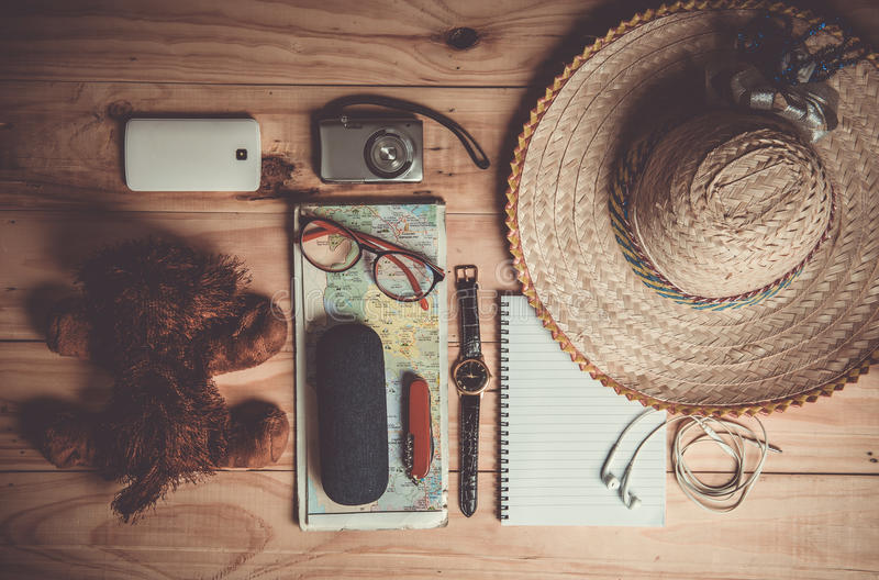 Top view of Traveler& x27;s accessories, Essential vacation items, Tr stock images