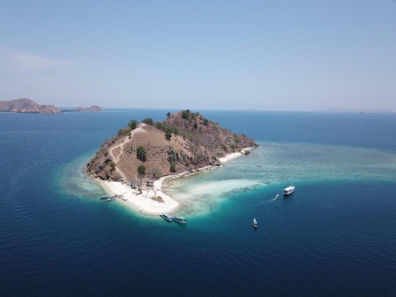 Top view of tropical island, Komodo Island Komodo National Park, Labuan Bajo, Flores, Indonesia royalty free stock image