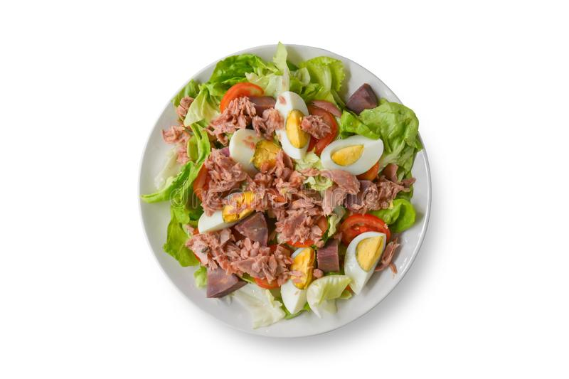 Top view. Tuna salad with lettuce, tomato sliced, boiled egg and sweet potato in white bowl  on white background. Healthy stock images