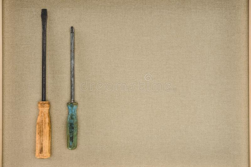 top view of two different screwdrivers stock photography