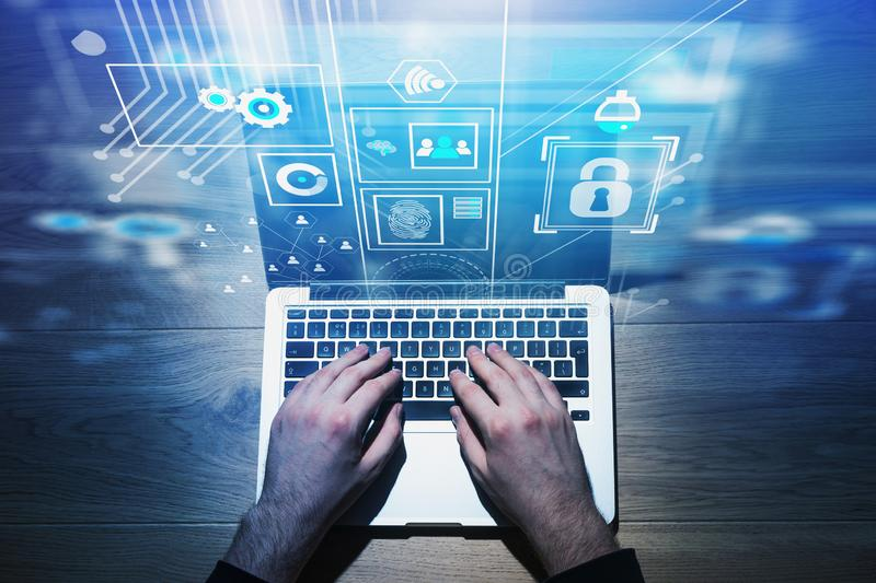 Top view of typing hands, online security royalty free stock photography