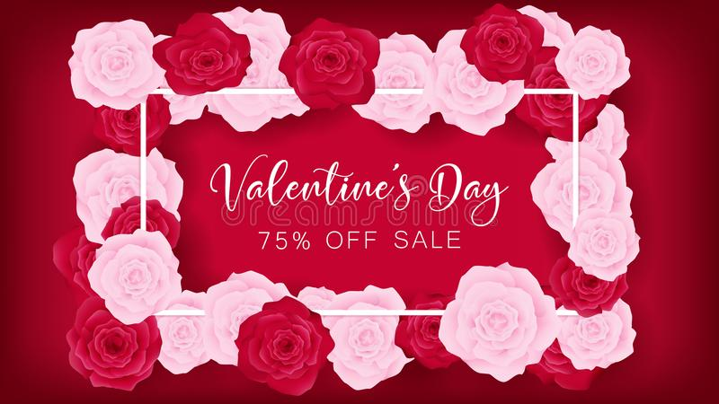Top view valentines day invitation decorate in red background stock invitation decorate in red background beside border along with pink and red rose middle contain white valentines day discounting text artwork usage stopboris Images