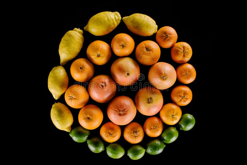 Top view of various citrus fruits composition in spiral shape. Isolated on black royalty free stock image