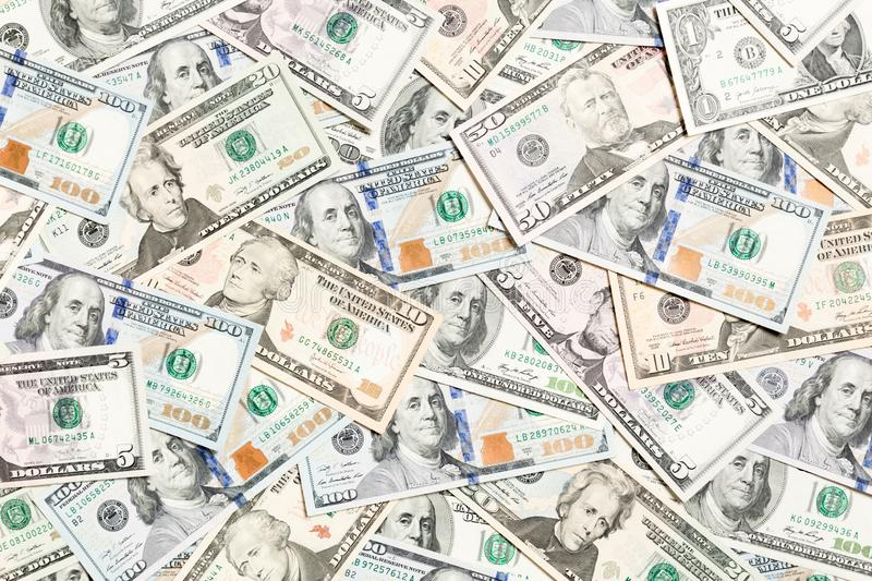 Top view of various dollar cash background. Different banknotes concept. Wealth and rich concept stock image