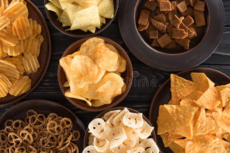 top view of various junk food and snacks royalty free stock photos