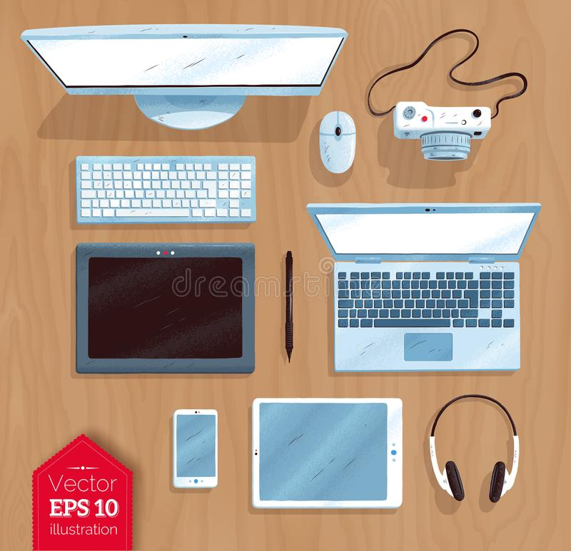 Top view vector illustration set of digital devices royalty free illustration