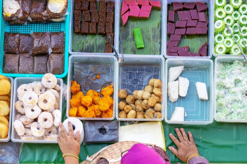 Top view of vendor at the food stall in Kota Kinabalu city food market, Sabah, Malaysia royalty free stock images