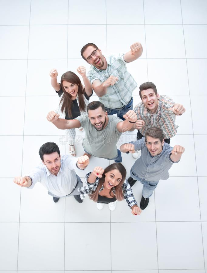 Top view.very happy business team stock photos