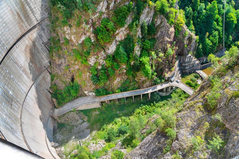 Top view from Vidraru dam on Arges river royalty free stock photo