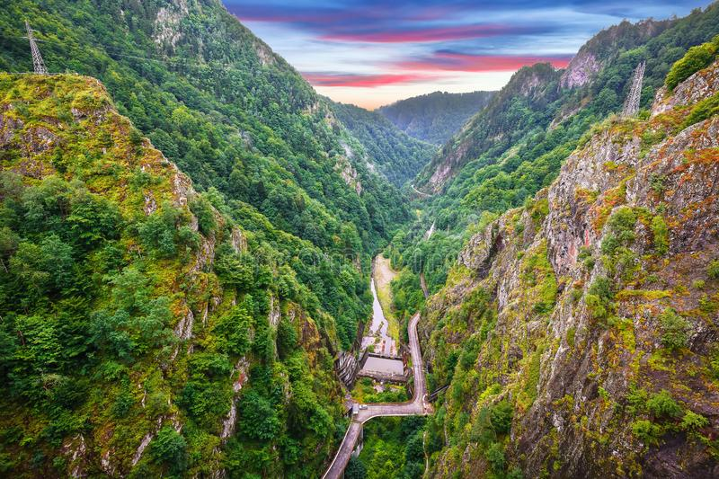 Top view from Vidraru dam on Arges river stock image