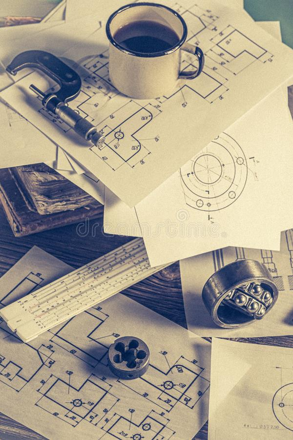 Top view of vintage designer desk of mechanical parts royalty free stock photo