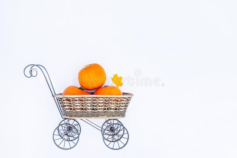 Top view Vintage Garden carriage basket with ripe pumpkins on the white background isolated . Autumn harvest, thanksgiving, hallow royalty free stock photography