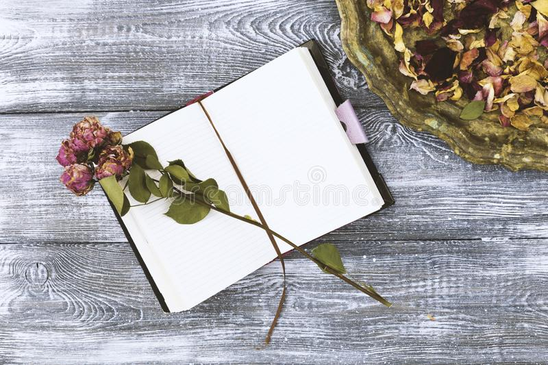 Top view of vintage tray with petals of dried rose flowers and a diary or notebook and dried rose flower on a gray wooden table. royalty free stock photos